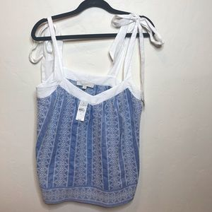 LOFT Embroidered Tie Strap Tank Top size Small